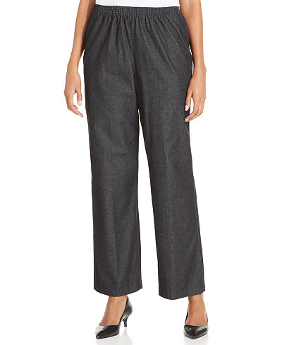 Alfred Dunner Petite Pull-On Denim Pants, Black Wash