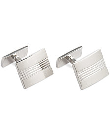 Ryan Seacrest Distinction Rhodium Detailed Lines Cufflinks