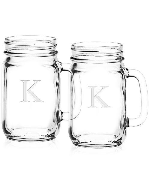 culver closeout monogram mason jars set of 2 glassware