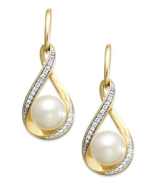 Macy's Cultured Freshwater Pearl (7mm) and Diamond (1/10 ct. t.w.) Drop Earrings in 14K Gold