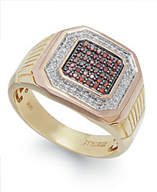 Men's Two-Tone Diamond Ring in 10k Gold (1/4 ct. t.w.)