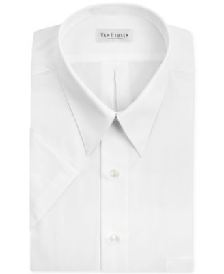 Van Heusen Mens Short Sleeve Poplin Solid Dress Shirt