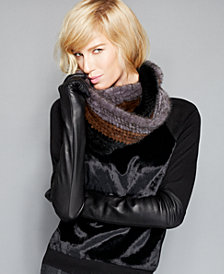 The Fur Vault Knitted Mink Fur Striped Infinity Scarf