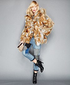 Pieced Fox Fur Hooded Jacket