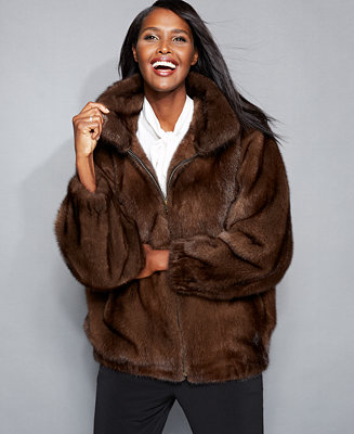 The Fur Vault Mink Fur Bomber Jacket The Fur Vault