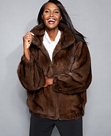 The Fur Vault Mink Fur Bomber Jacket