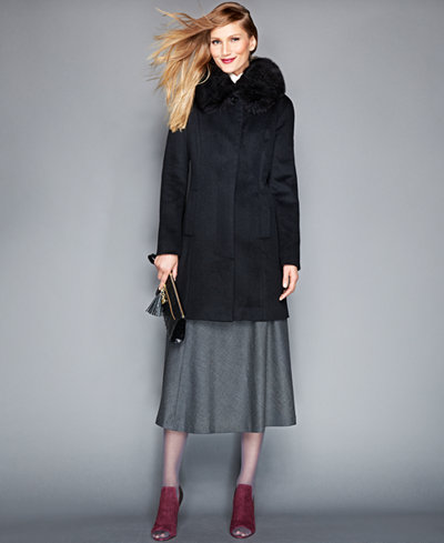 The Fur Vault Removable Fox Fur Collar Cashmere Coat - The Fur ...
