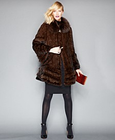 Fox-Fur-Trimmed Mink Fur Swing Coat