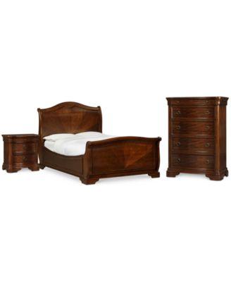 Bordeaux Ii 3 Pc Bedroom Set Queen Bed Nightstand Chest Created For Macy S