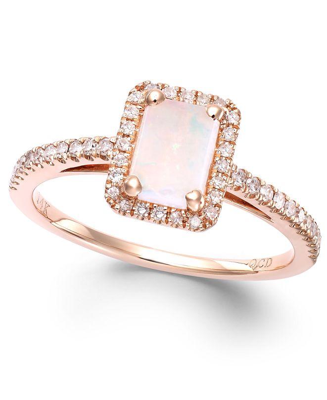 Macy's Opal (1/2 ct. t.w.) and Diamond (1/5 ct. t.w.) Ring in 14k Rose Gold