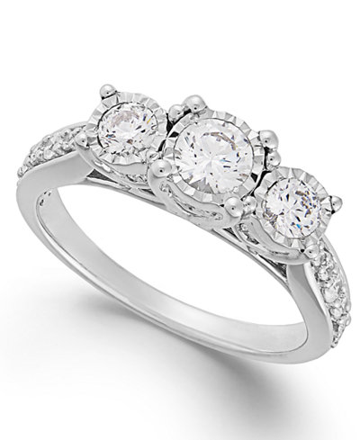 Trumiracle 174 Diamond Three Stone Ring 1 Ct T W In 14k