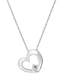 Diamond Heart Solitaire Pendant Necklace in 14k White Gold (1/10 ct. t.w.)