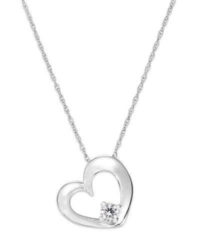 Diamond Heart Solitaire Pendant Necklace in 14k White Gold (1/10 ct. t.w.)