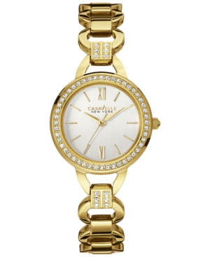 Caravelle New York by Bulova Women's Crystal Accent Gold-Tone Stainless Steel Bracelet Watch 28mm 44L162