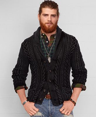 Denim & Supply Ralph Lauren Men's Cable Knit Shawl Cardigan ...