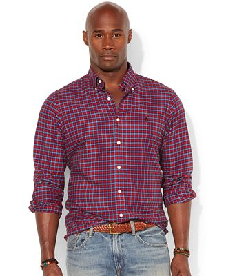 Polo ralph lauren big and tall classic fit checked poplin for Big and tall casual shirts