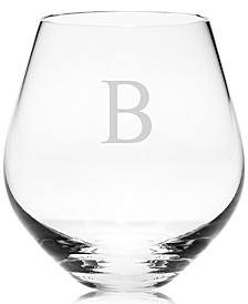 Tuscany Monogram Stemware, Set of 4 Block Letter Stemless Red Wine Glasses