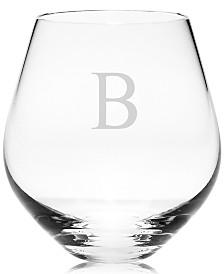 Lenox Tuscany Monogram Stemware, Set of 4 Block Letter Stemless Red Wine Glasses