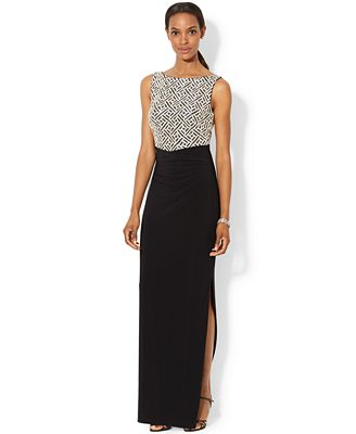 lauren ralph lauren sleeveless sequined geo pattern gown