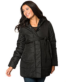 Motherhood Maternity Belted Hooded Coat