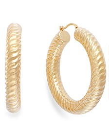 Signature Gold™ Ribbed Hoop Earrings in 14k Gold over Resin