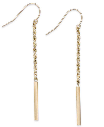 Rope and Bar Linear Earrings in 14k Gold