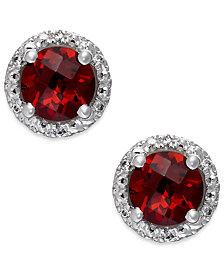 Garnet (2-1/10 ct. t.w.) and Diamond Accent Halo Stud Earrings in 14k White Gold