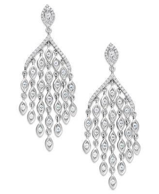 Diamond Chandelier Earrings In 14k White Gold 1 Ct T W