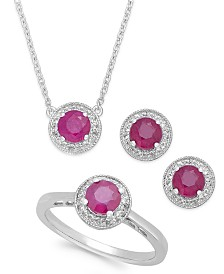 Gemstone (2 ct. t.w.) and White Topaz (1/2 ct. t.w.) Jewelry Set in Sterling Silver