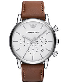 Emporio Armani Men's Chronograph Brown Leather Strap Watch 41mm AR1846