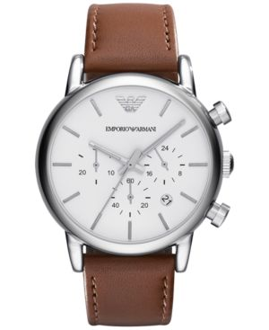 Emporio Armani Men's Chronograph Brown Leather Strap Watch 41mm AR1846 thumbnail