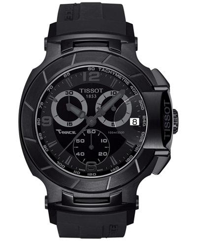 Tissot Men's Swiss Chronograph T-Race Black Rubber Strap Watch 50x45mm T0484173705700