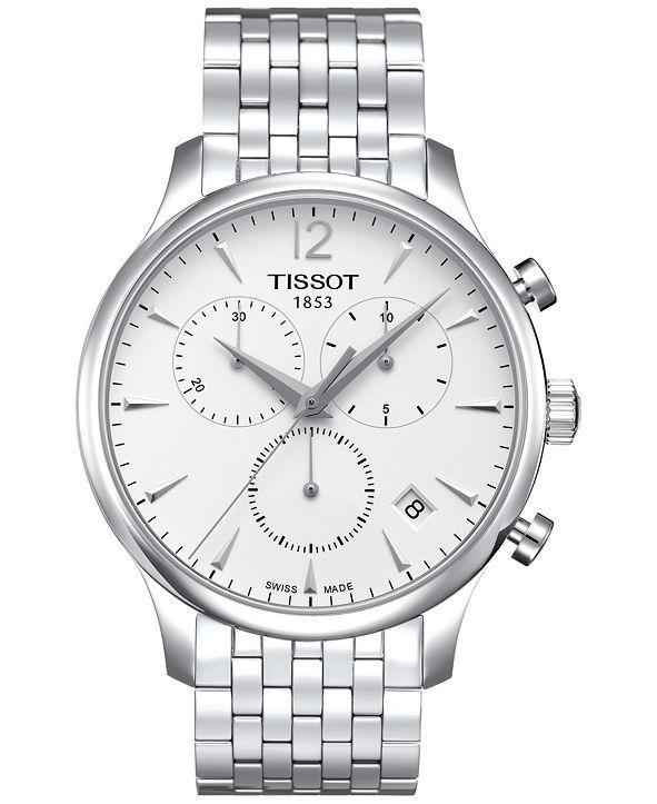 Tissot Men's Swiss Chronograph Tradition Stainless Steel Bracelet Watch 42mm T0636171103700
