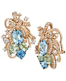 Le Vian Crazy Collection® Multi-Stone Cluster Drop Earrings in 14k Rose Gold (14-1/6 ct. t.w.), Created for Macy's