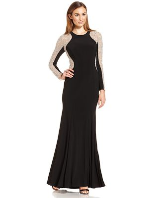 Xscape Long-Sleeve Studded Colorblocked Gown - Dresses - Women ...