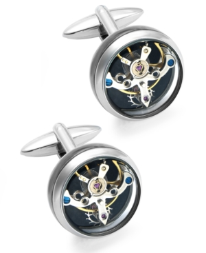 Sutton by Rhona Sutton Men's Stainless Steel Clock Cuff Links