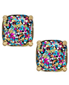 Gold-Tone Rainbow Glitter Large Square Stud Earrings