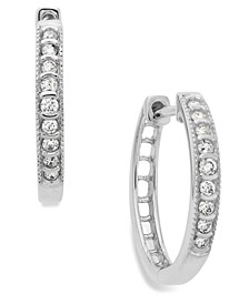 Diamond Mini Hoop Earrings in 10k White Gold (1/6 ct. t.w.)