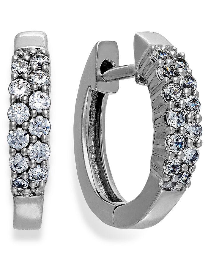 Macy's - Diamond Two-Row Hoop Earrings in 14k White Gold (1/4 ct. t.w.)