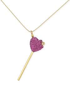 Simone I. Smith Pink Crystal Heart Lollipop Pendant Necklace in 18k Gold over Sterling Silver