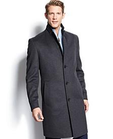 BOSS Charcoal Twill Stratus Wool Overcoat