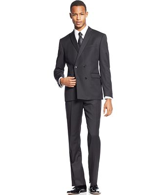 Bar III Slim-Fit Black Double-Breasted Solid Suit Separates ...