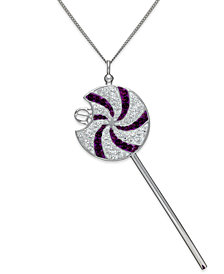 SIS by Simone I. Smith Clear and Purple Swirl Lollipop Pendant Necklace in Sterling Silver