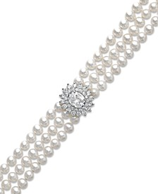Cultured Freshwater Pearl (5mm) and Swarovski Zirconia Bracelet in Sterling Silver