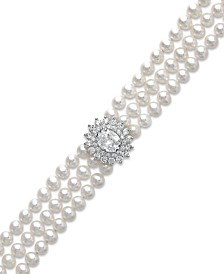 Arabella Cultured Freshwater Pearl (5mm) and Swarovski Zirconia Bracelet in Sterling Silver