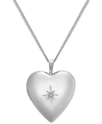 Diamond Accent Starburst Heart Locket Necklace in Sterling Silver