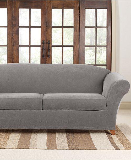Sure Fit Stretch Pique 2 Cushion Sofa Slipcover & Reviews ...