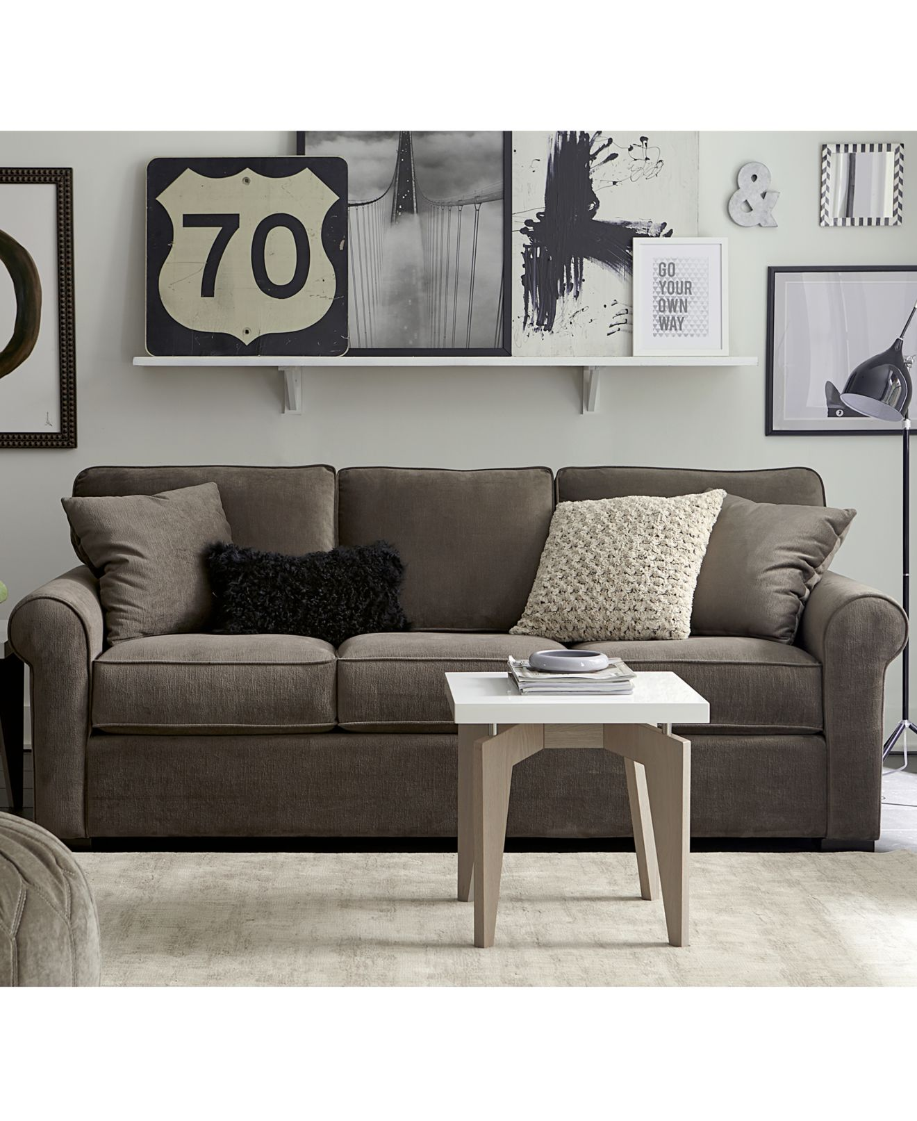 remo ii fabric sofa living room furniture collection - furniture