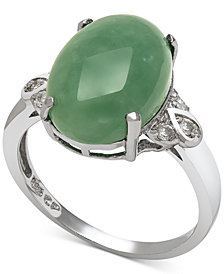Dyed Jade (10mm) and Diamond (1/10 ct. t.w.) Ring in Sterling Silver