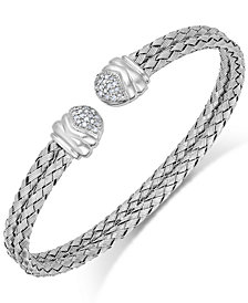 Diamond Weave Cuff Bracelet in Sterling Silver (1/5 ct. t.w.)